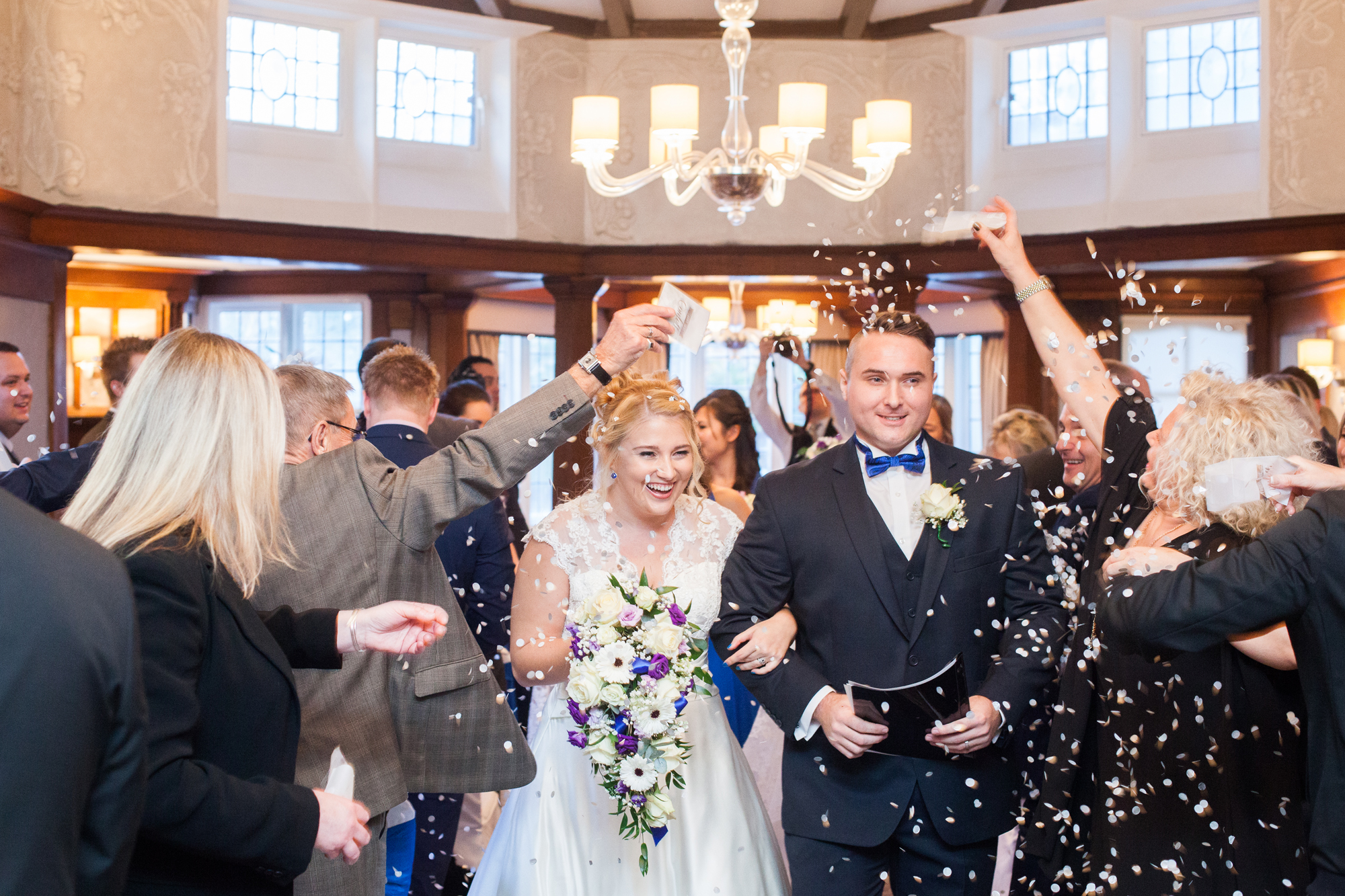 Richmond Hill Hotel bride and groom confetti